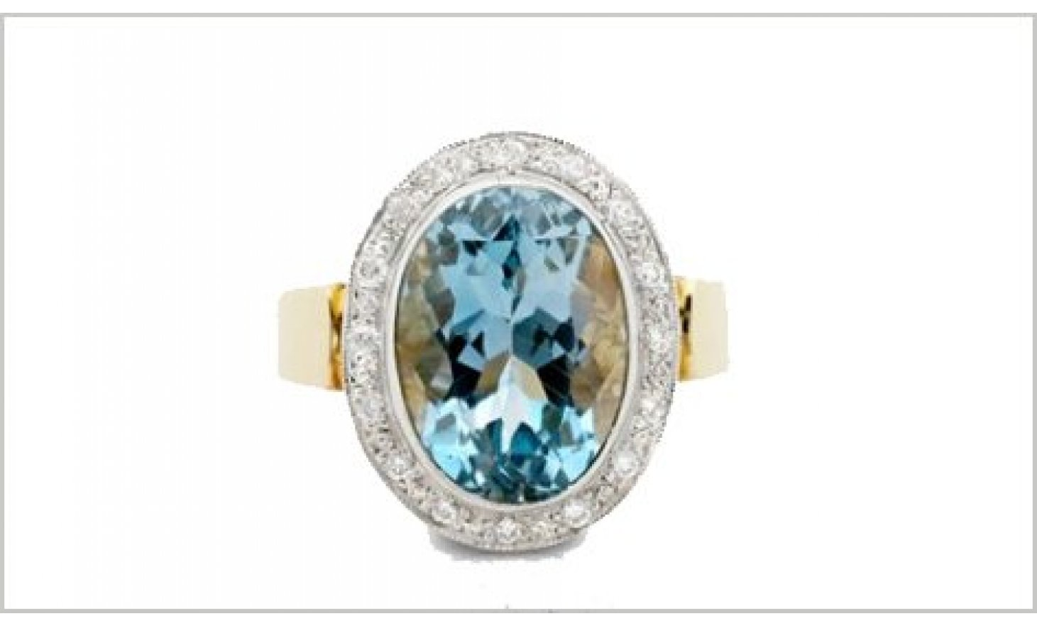 thumbnail for Aquamarine diamond ring