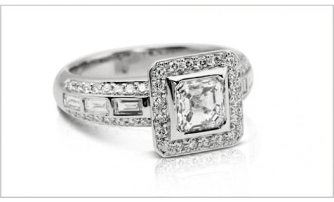 thumbnail for Asscher baguette diamond set ring
