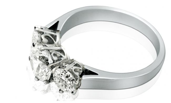 thumbnail for Platinum three stone ring