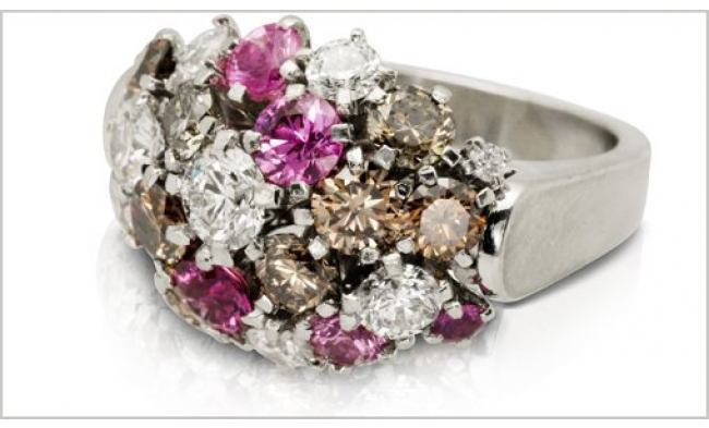 thumbnail for Platinum champagne diamond pink sapphire posy ring