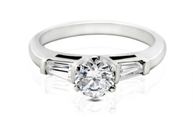 thumbnail for White gold Baguette and Brilliant cut diamond engagement ring