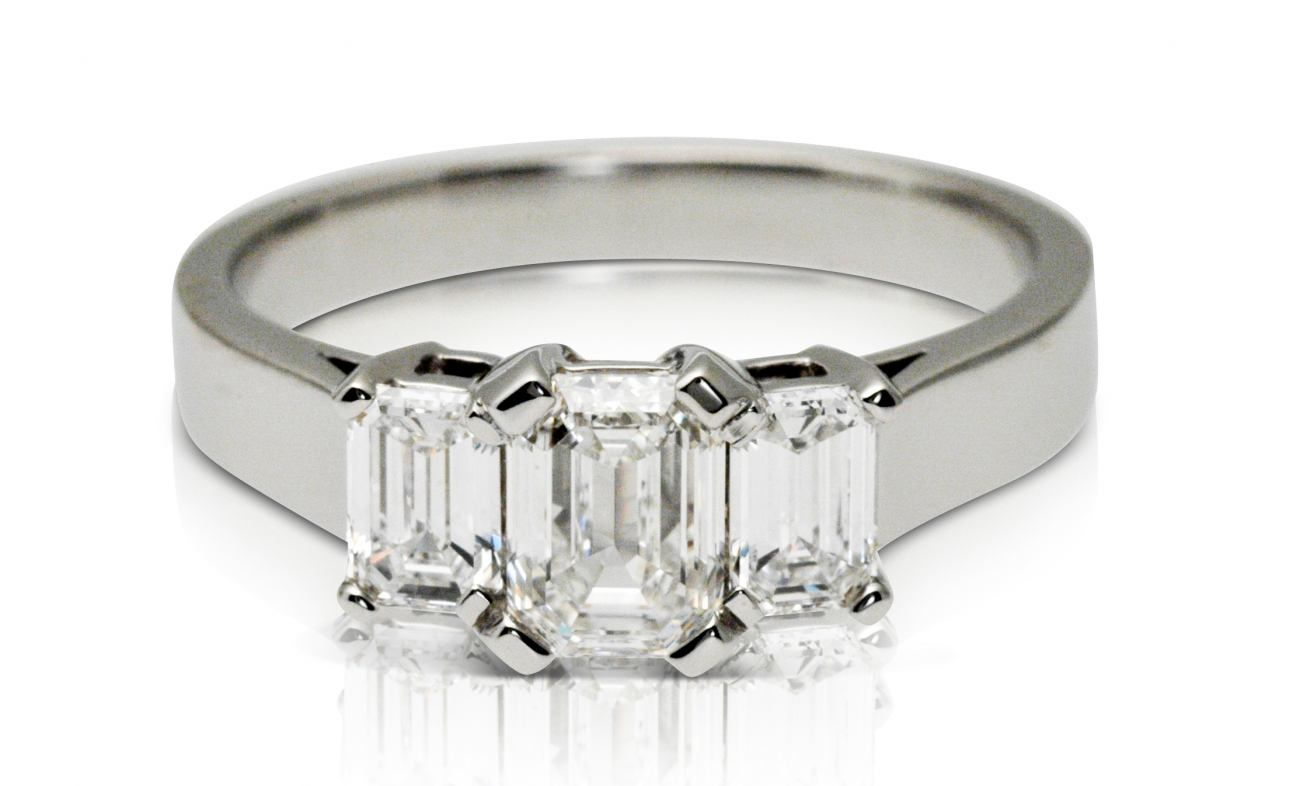 thumbnail for 2.00ct diamond three stone Emerald cut ring