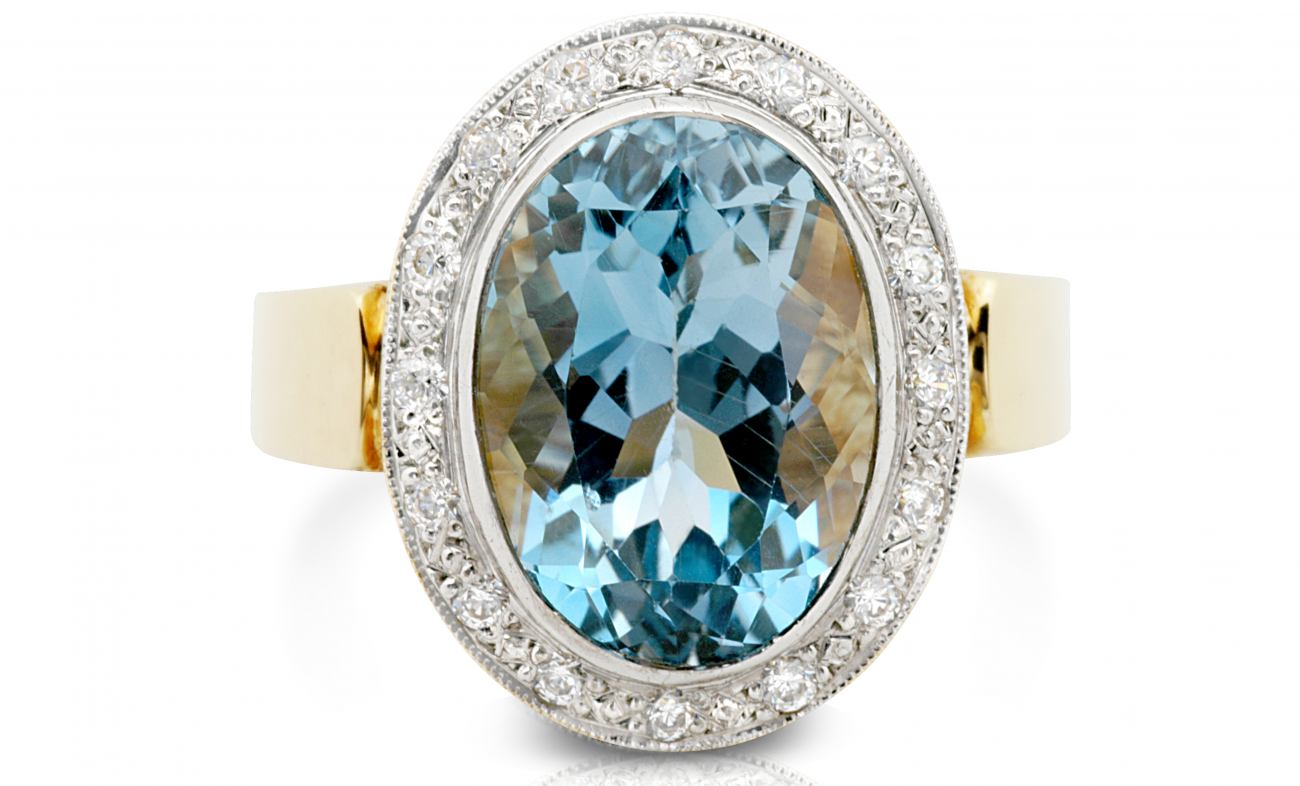 thumbnail for Aquamarine and diamond cocktail ring