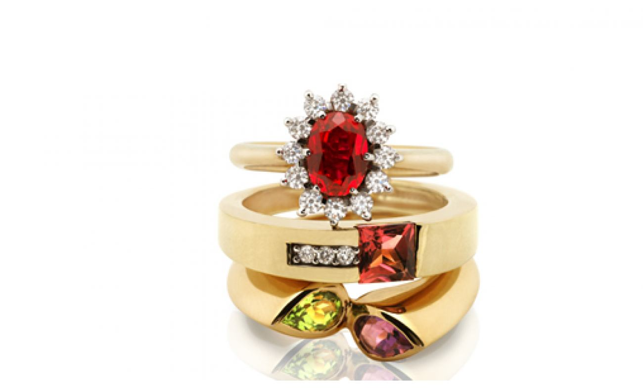 thumbnail for Coloured stone ring set