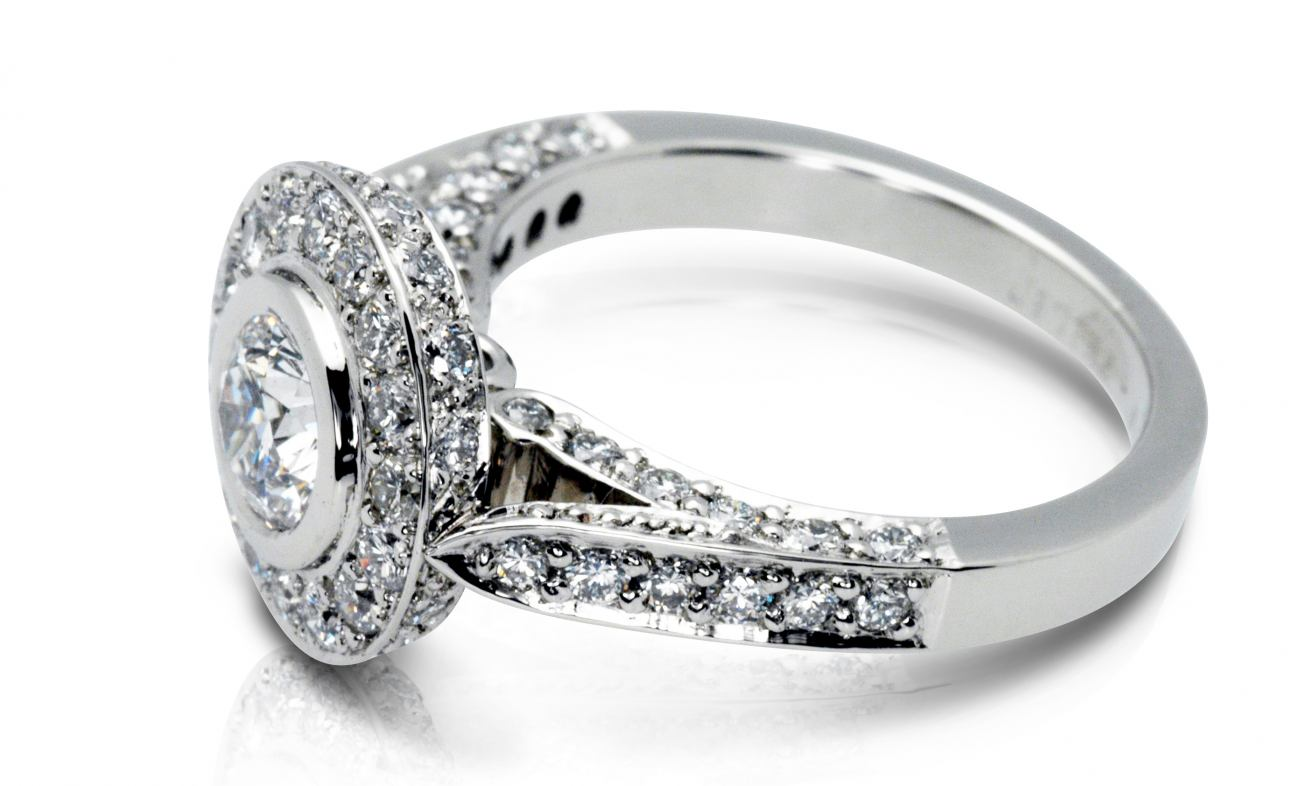 thumbnail for Halo bead rub set white gold engagement ring