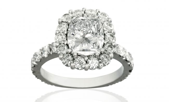 thumbnail for 2ct Cushion cut diamond halo engagment ring