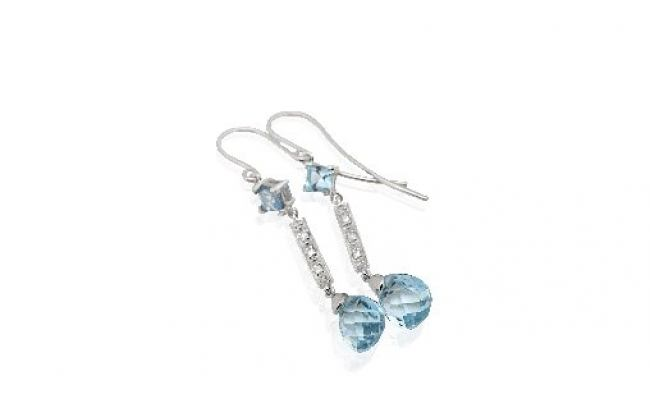 thumbnail for Blue topaz diamond earrings
