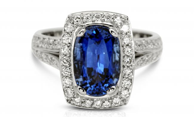 thumbnail for Platinum Sapphire diamond halo ring